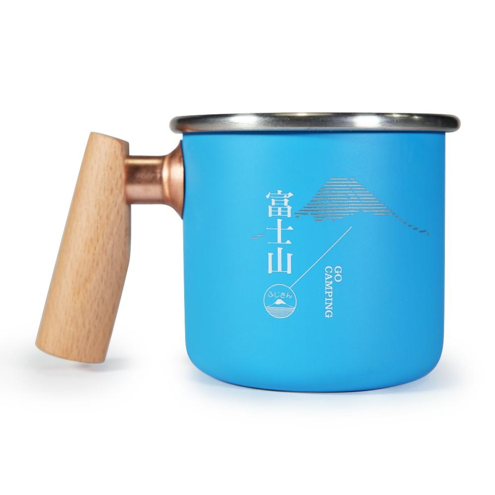 Truvii 400ml 木柄白鐵杯-富士山 / TY922800