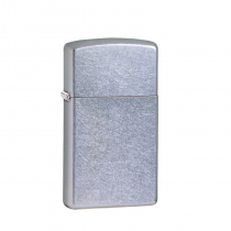 Zippo Slim® Street Chrome™ 防風打火機 纖巧花沙-花沙鍍鉻 1607 買就送原廠專用油