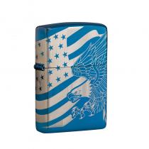 Zippo Patriotic Design 防風打火機 High Polish Blue-Laser 360 49046 買就送原廠專用油