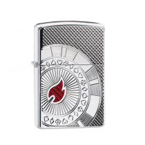 Zippo Armor® Poker Chip Design 防風打火機 Armor High Polish Chrome -Deep Carve 49058 買就送原廠專用油