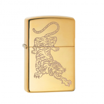 Zippo Tiger Design 防風打火機 High Polish Brass/Lustre 29884 買就送原廠專用油